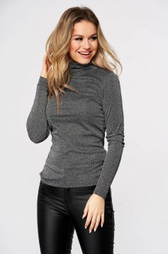 Silver sweater casual tented turtleneck knitted thin fabric