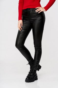 Black trousers from ecological leather conical with pockets