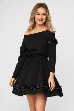 Dress daily StarShinerS black short cut from elastic fabric cloche with elastic waist one shoulder