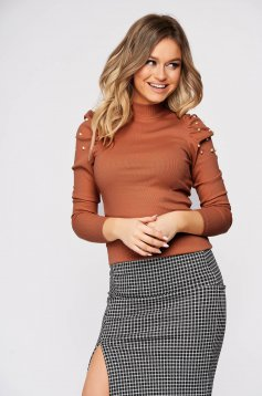 Coral short cut women`s blouse with turtle neck high shoulders tented from striped fabric