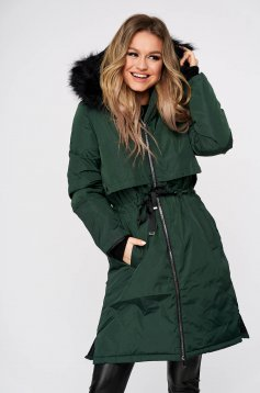 Green jacket casual long from slicker the jacket has hood and pockets