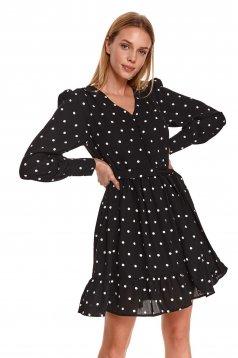 Black dress casual short cut cloche long sleeved dots print