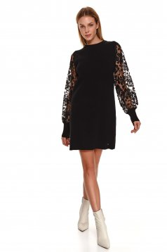 Black dress casual knitted transparent sleeves