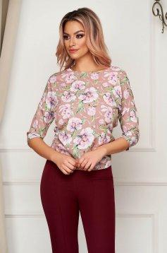 StarShinerS cream women`s blouse office short cut flared soft fabric