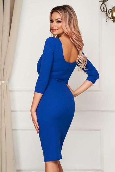 Dress elegant midi StarShinerS blue pencil bare back