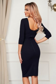 Dress elegant midi StarShinerS darkblue pencil bare back