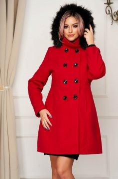 Palton din lana SunShine rosu elegant scurt cu un croi drept cu gluga si buzunare