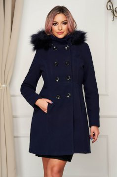 Darkblue coat elegant short cut straight wool the jacket has hood and pockets