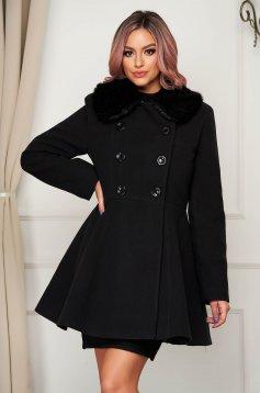 Black coat elegant short cut cloche wool fur collar