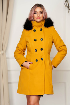 Yellow coat elegant short cut straight wool the jacket has hood and pockets