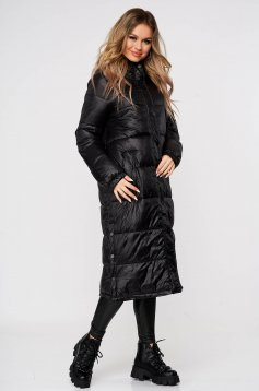 Black jacket casual long from slicker with easy cut