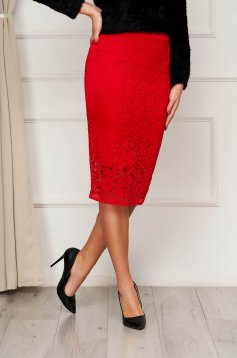 StarShinerS red skirt midi pencil high waisted elastic waist from laced fabric from elastic fabric