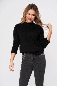 Pulover SunShine negru casual cu croi larg din material tricotat