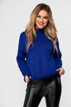 Pulover SunShine albastru casual scurt cu croi larg din material tricotat