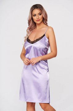 StarShinerS lightpurple *cat_name* with lace details with v-neckline adjustable straps with easy cut from satin