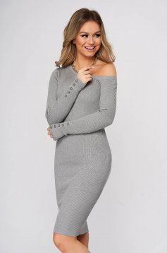 Grey dress midi pencil daily knitted fabric from striped fabric one shoulder