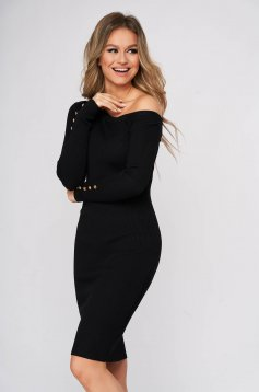 Black dress midi pencil daily knitted fabric from striped fabric one shoulder