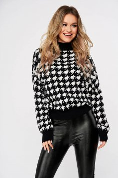 Pulover SunShine negru casual tricotat pe gat in carouri