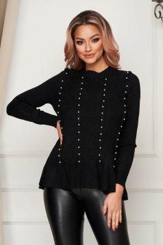 Pulover SunShine negru casual tricotat cu croi larg cu aplicatii din perle si volanase