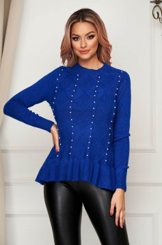 Blue sweater casual flared knitted with pearls with ruffle details