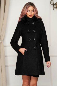 Black coat fur collar elegant straight wool