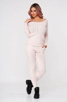 Trening dama SunShine roz deschis casual tricotat cu material impletit din doua piese