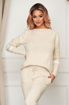Cream sport 2 pieces casual from two pieces with trousers knitted