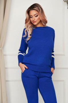 Blue sport 2 pieces casual from two pieces with trousers knitted