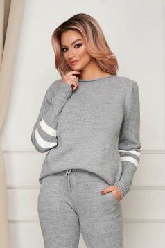 Grey sport 2 pieces casual from two pieces with trousers knitted