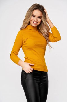 Mustard women`s blouse slightly elastic cotton turtleneck from striped fabric form-fitting casual