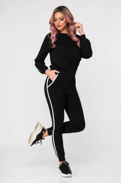 Black sport 2 pieces 2 pieces cotton casual