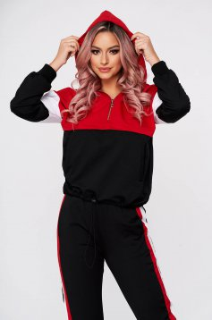 Casual red from two pieces sport 2 pieces with trousers slightly elastic cotton