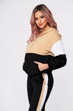 Treninguri dama SunShine crem casual din doua piese cu pantaloni din bumbac usor elastic