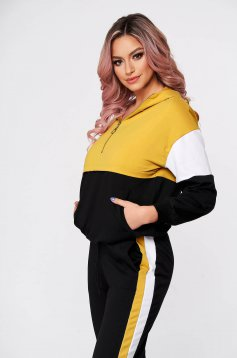 Casual yellow from two pieces sport 2 pieces with trousers slightly elastic cotton
