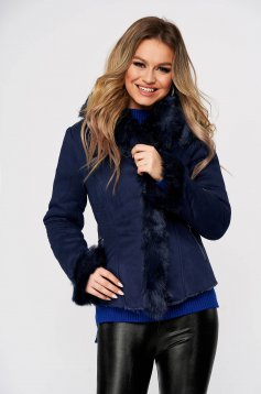 Darkblue jacket thin fur lining with faux fur details from ecological suede