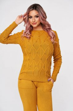Mustard sport 2 pieces knitted flared casual from two pieces with pearls