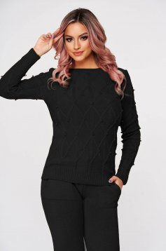 Black sport 2 pieces knitted flared casual from two pieces with pearls