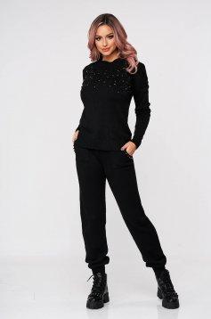 Trening dama SunShine negru tricotat din doua piese cu talie medie si aplicatii cu perle
