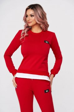 Red sport 2 pieces flared 2 pieces slightly elastic cotton with trousers