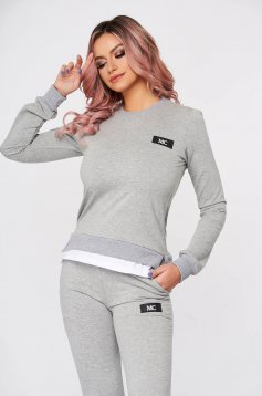 Grey sport 2 pieces flared 2 pieces slightly elastic cotton with trousers