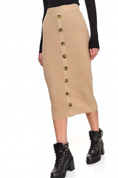 Peach skirt casual midi knitted with button accessories