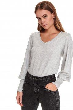 Pulover Top Secret gri-deschis casual tricotat cu croi larg si decolteu in v