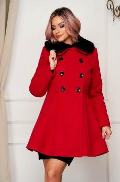 Red coat elegant short cut cloche wool fur collar
