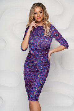 StarShinerS dress midi pencil lycra waist pleats