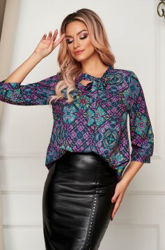 Women`s blouse office flared thin fabric