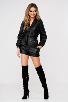 Black jumpsuit from ecological leather with puffed sleeves women`s shorts