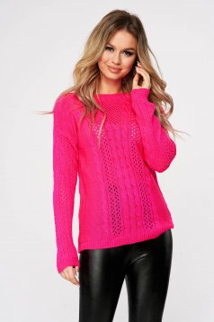 Pulover SunShine roz casual tricotat cu croi larg si guler barcuta