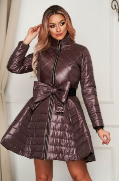 Purple jacket elegant midi from slicker flaring cut with bow