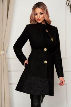 Palton Artista negru elegant din stofa in clos cu buzunare captusit pe interior