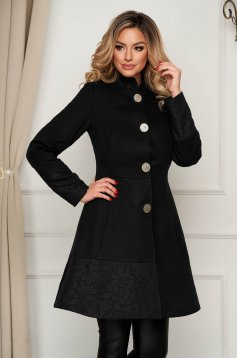 Elegant black coat cloth cloche with pockets with inside lining
